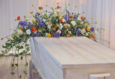 afscheid met bloemen